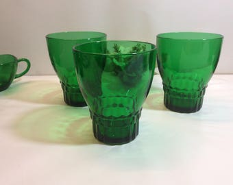 Vintage 3- Anchor Hocking 9 oz Stackable Forest Green Tumblers Fancy