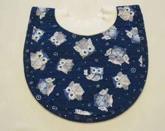 Owls Pop-on Quilted Baby Bib