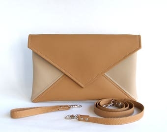 Clutch envelope, Light Brown Beige Clutch Purse, Bridesmaid Clutch, Vegan leather Clutch Bag, Wedding Clutch, Vegan Handbag, Evening Bag