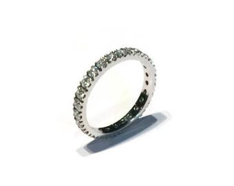 """A & Furst """"France"""" Eternity Band with White Diamonds all around, Franch-set, 18k White Gold"""