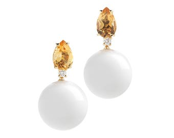 "A & Furst ""Bonbon"" Earrings with Citrine, White Agate (Kogolong) and Diamonds, 18k Yellow Gold."