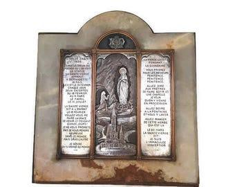 Antique Christian Altar, Lourdes marble altar, religious footed shrine