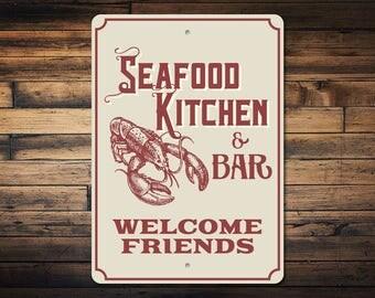 Seafood Kitchen Sign, Kitchen Bar Sign, Seafood Lover Sign, Lobster Decor,  Lobster