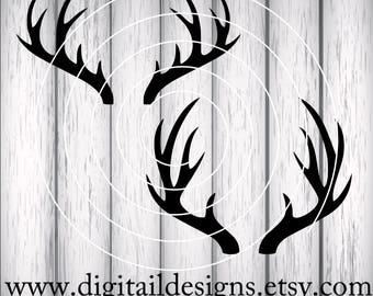Deer Antlers SVG - png - fcm - eps - dxf - ai - Cut File - Silhouette - Cricut - Deer Antler -  Antler Monogram Frame SVG - Deer Rack SVG