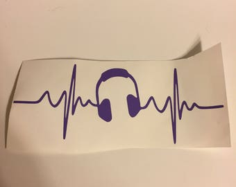 Music headphones heartbeat decal