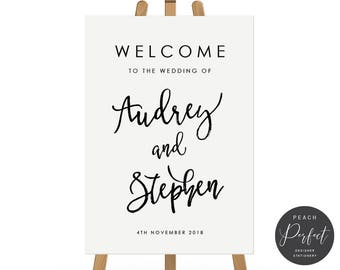Black and White Modern Wedding Welcome Sign, Wedding Poster, Free Colour Changes, DIY Printable We Print, Audrey Suite