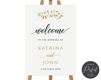Black and Gold Modern Wedding Welcome Sign, Wedding Poster, Free Colour Changes, DIY Printable We Print, Katrina Suite