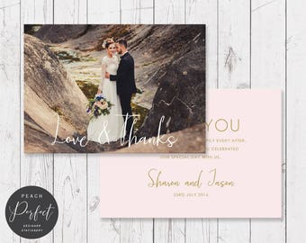 Wedding Thank You Photo Cards, Modern Blush Pink and Gold, Thank You Postcard, Professionally Printed, Peach Perfect Australia