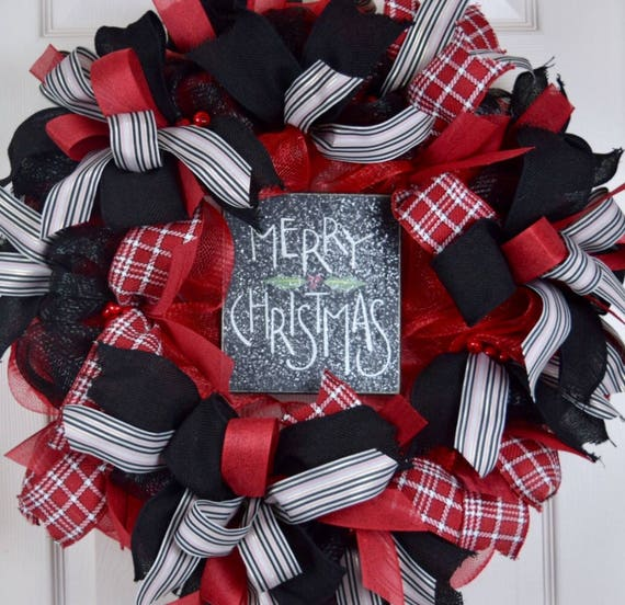 Merry Christmas Red and Black Mesh Wreath; Winter Wreath; Holiday Wreath; Christmas Wreath; Christmas Decor; Holiday Decor; Christmas Decor