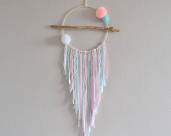 Dream catcher pink, green and white