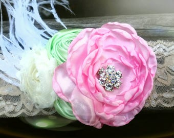 Gorgeous Spring mint and pink flower Easter headband!