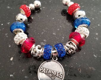 Adjustable Cuff Beaded Bracelet with New England Patriot Charm