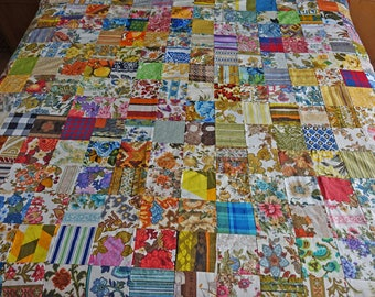 Vintage unfinished quilt top - To finish in your home - Handmade quilt -Ready to ship - diy quilt