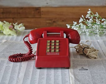 Vintage RED telephone Northem Electric telephone Touch tone desktop phone