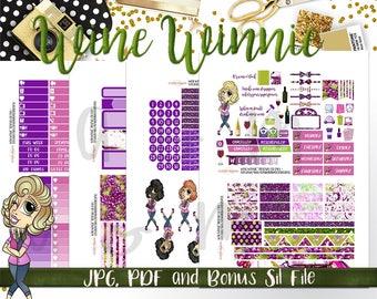 Weekly Kit//Printable Planner Stickers,  Fit HP Planners, Wine Stickers, Wine Winnie