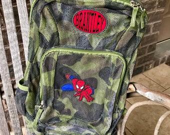 Monogrammed Backpack | Mesh Backpack | Back to School | Spiderman Backpack | Boys Backpack | Mesh Backpack | Embroidered Mesh Backpack
