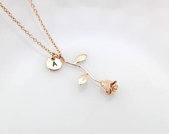 Rose Gold Necklace, Rose Gold Rose Charm Necklace, Love Rose Charms, Flower Charms, Personalized Necklace, Initial Charm, Initial Necklace