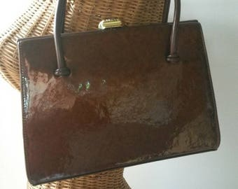 Bronze Patent Leather Waldybag. Pale Suede Lining. Shiny Copper Gold With Brass Detail.