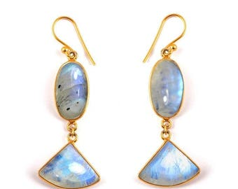 ON SALE Handmade Natural Rainbow Moonstone Earrings - Sterling Silver 23k Micro Gold Plated