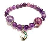 RESERVED for LYNN W. silver moon bracelet, amethyst charm bracelet, celestial jewelry, moon jewelry, inspirational bracelet