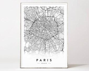 Paris city map, Paris map poster, Paris map print, Paris map, city posters, city map, map wall art, map prints, affiche scandinave, Paris