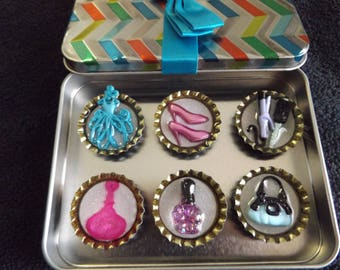 Set of six bottle cap magnets girlie girl
