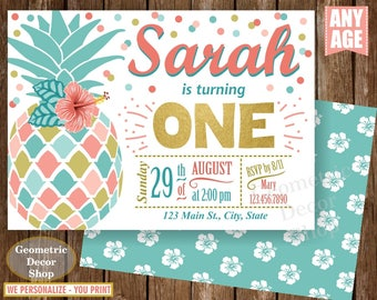 Pineapple First Birthday Invitation Pool 1st Birthday invite Printable Luau Hawaiian Party Coral Pink Teal Photo Photograph Gold ONE BDP20