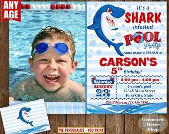 Shark / Birthday invitation / pool / party invite digital printable summer party Bash / Boy / blue / Red / Photo / Photograph / BDShark2