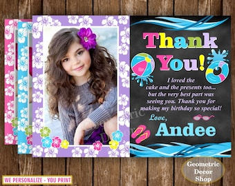 Pool Thank You Card / Birthday Thank You Card / Pink Purple Blue Teal / Girl Birthday Party Photo Photograph Luau Hawaiian THPool1
