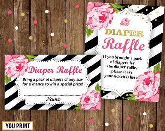 Instant download / Floral / Baby Shower / Diaper Raffle / Pink / Flowers / Black stripes / Ticket / Cards / Sign / Printable / Girl / DRBee1