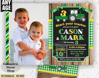 Tractor / Birthday / Invite / Invitation / joint / combined / twins / double / dual / Yellow / Green / Plaid Boy Photo Photograph Farm BDT40