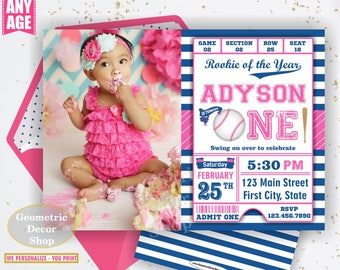 First Birthday invitation Vintage Baseball Sports Invite 1st All star invitations One Ball pink blue invites girl photo photograph BDSP27