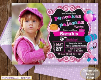 Pancakes and Pajamas Party / Sleepover / Slumber Invite / Spa Birthday Invitation / Pink Teal Purple Glitter Girl Chalkboard BDSO6