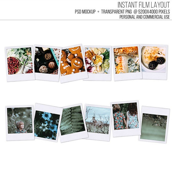 Sale! Polaroid Frame Template. Classic Instant Film Header Footer