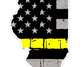 Illinois State (E14) Thin Yellow Line Dispatch Vinyl Decal Sticker Car/Truck Laptop/Netbook Window