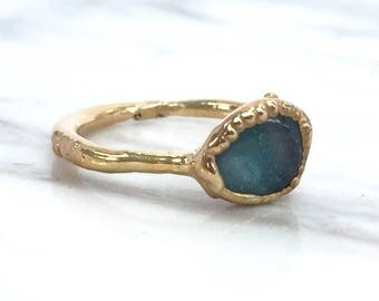 Azumar Ring, Blue Stone Ring, Gold Blue Ring, Light Blue Ring, Blue Pastel Ring, Robins Egg Ring, Gemstone Stacking Ring, Rings, Jewelry