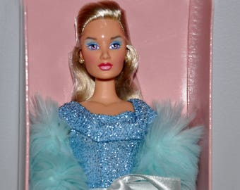 Mikelman Fabulous Fur Charise Blue Ocean Doll, Barbie Style Doll, Vintage Barbie Size Doll, Blonde 12Inch Doll, Collector Doll, Charise Doll