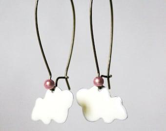 Large hoop earrings (cloud) enamel white ° ° Perle magic