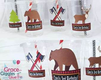 12 Personalized Lumberjack Themed party cups