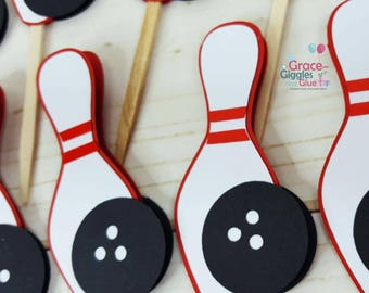 12 Bowling Themed Cupcake  Toppers