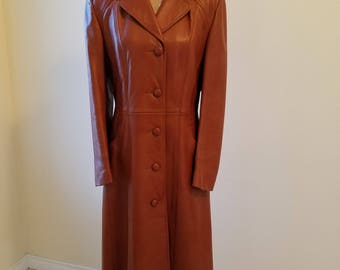 Vintage Leather Coat, vintage womens leather coat, vintage Coast Sportswear leather coat, vintage coats, vintage clothing,brown leather coat