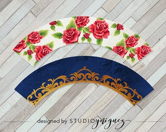 Beauty and the Beast Printable Cupcake Wrappers, Printable Cupcake Wrappers, Cupcake Toppers