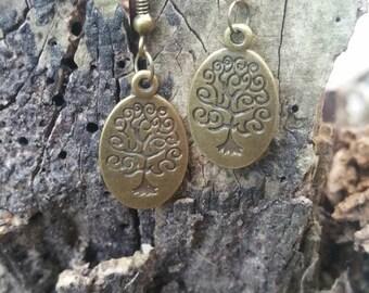Vintage Bronze tree design fish hook earings