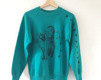 Teal Cat sweatshirt