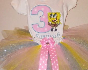 Pink Blue and Yellow SpongeBob 3rd Birthday Outfit Personalized