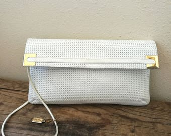 Vintage 1980s leather white clutch bag