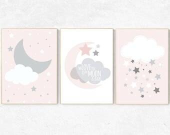 We love you to the moon and back, pink nursery art, star nursery decor, nursery decor, pale pink, moon nursery, baby girl nursery wall art