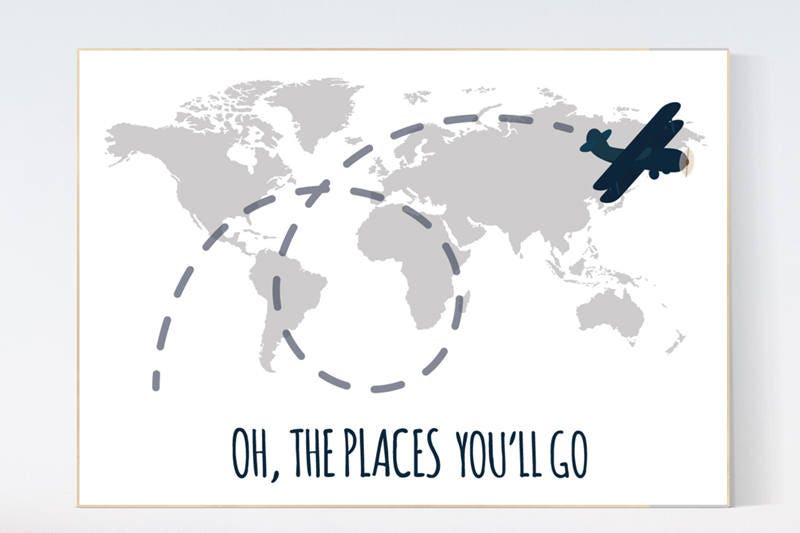 Oh the places youll go grey nursery decor travel nursery decor oh the places youll go grey nursery decor travel nursery decor world map wall art world map nursery navy gray nursery grey nursery gumiabroncs Image collections