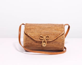 Barrel shoulder bag, barrel woven rattan bag, Ata oval bag, basket bag