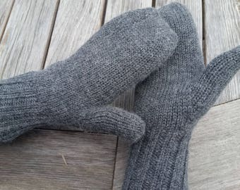 Alpaca Adult Mittens Natural Gray/Black Reversible Plain Back Knit